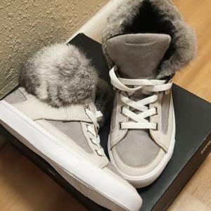 "Rebecca Minkoff ""Shiloh"" high top sneaker in Stone"